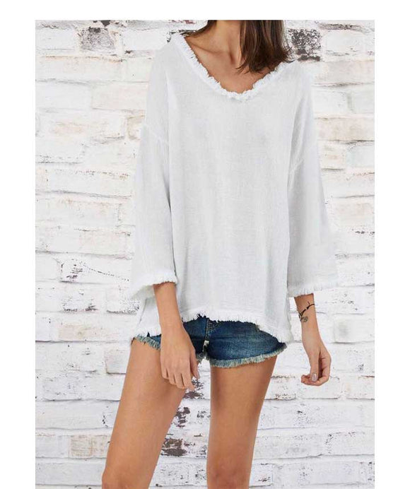 3/4 SLEEVE LINEN Fringed Edges  Top, White