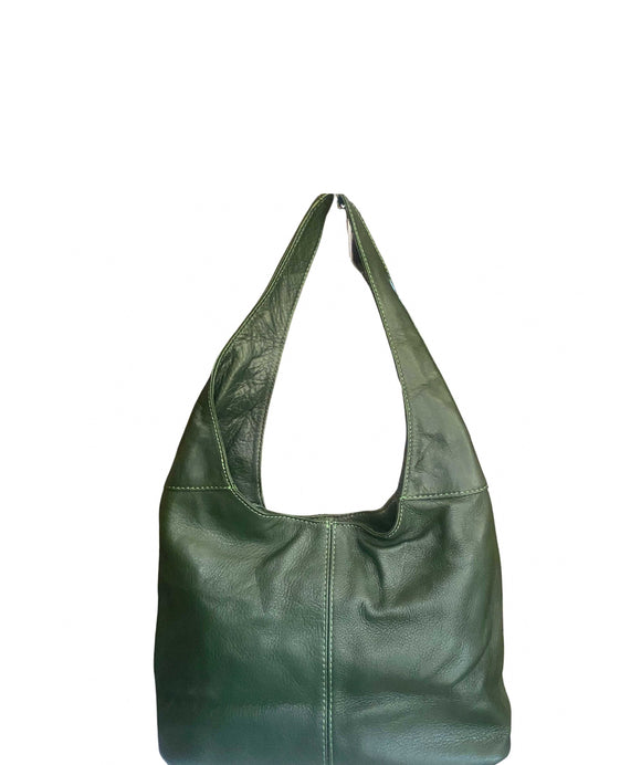Ladies Small Soft Italian Leather Hobo Shoulder Bag Green