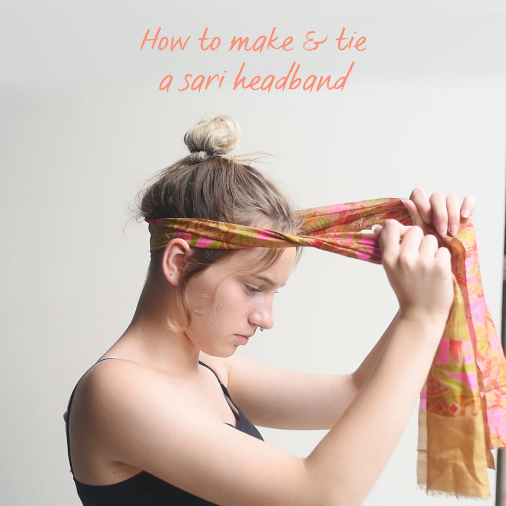 Vintage sari head band tutorial