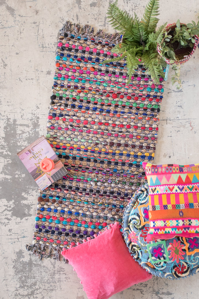 Multi Colour Jute & Upcycled Chindi Slub Rag Rug