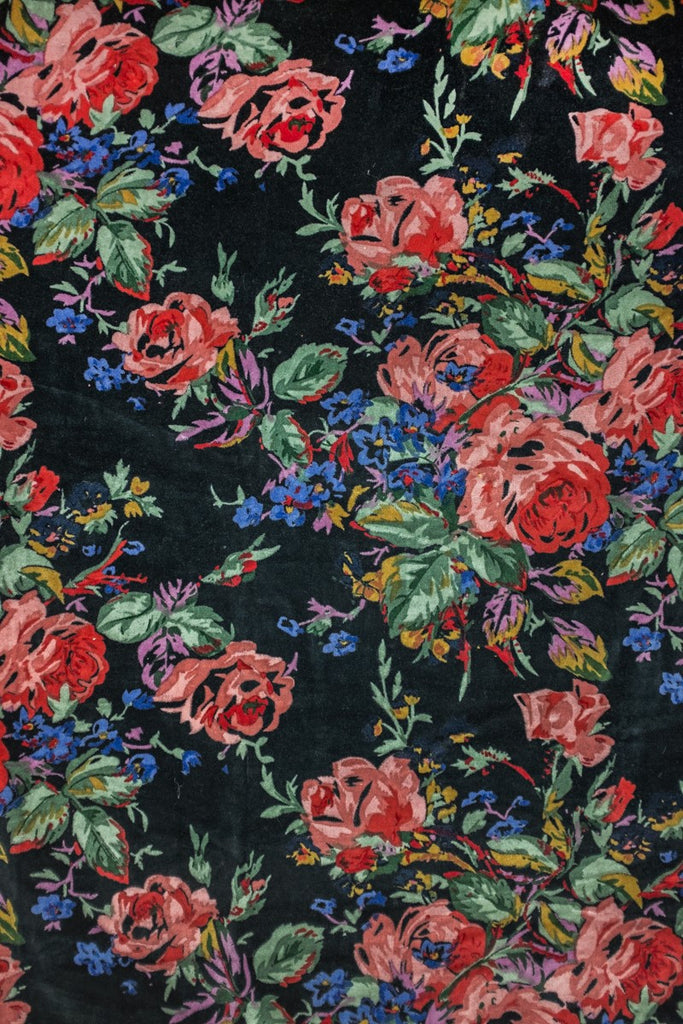 Black Roses Velvet Fabric by the Metre