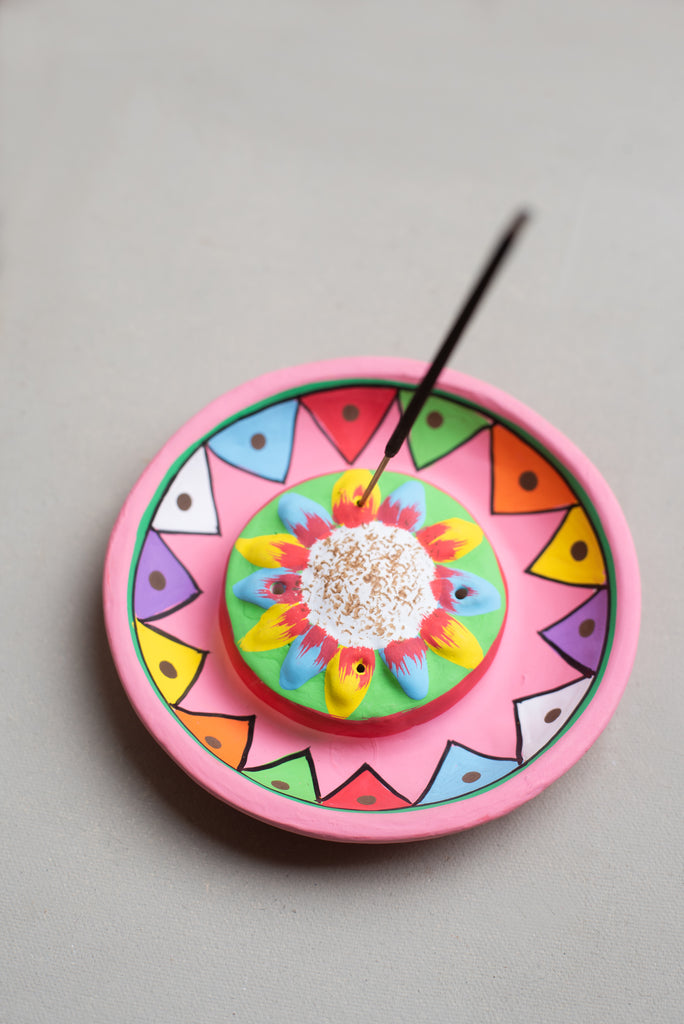 Multi Triangles Hand-painted Clay Incense Plate