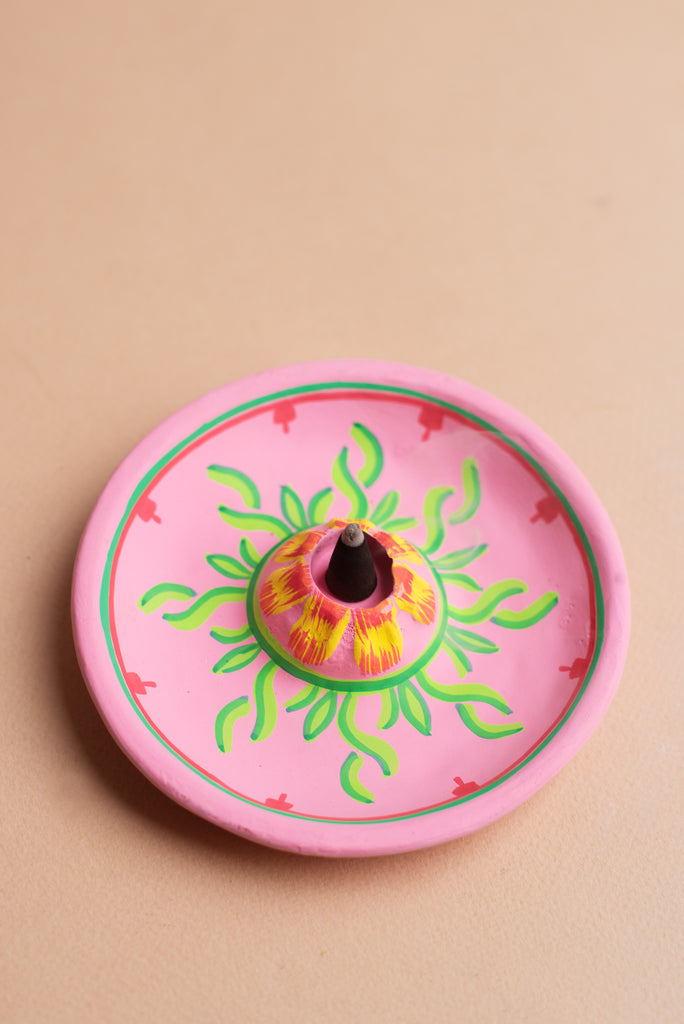 Pink Leaves Hand-painted Clay Incense Plate