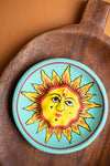 Turquoise Sun Hand-painted Clay Incense Plate