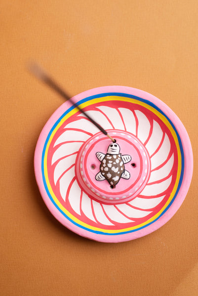 Pink Turtle Hand-painted Clay Incense Plate