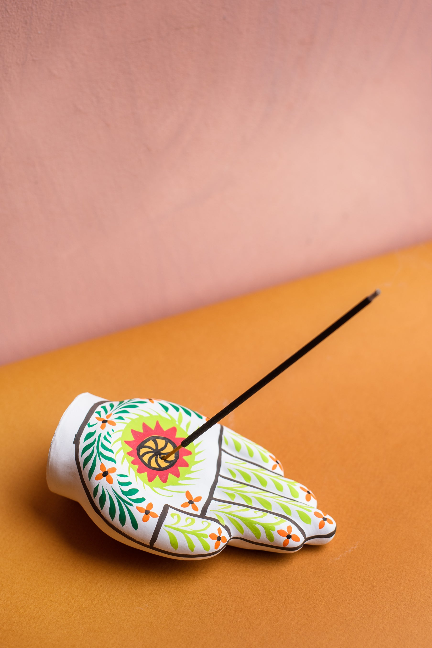 Spiral Hand Incense Holder Hand Painted Clay Ian Snow Ltd