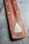 Buddha Wooden Ski Incense Holder with Brass Inlay