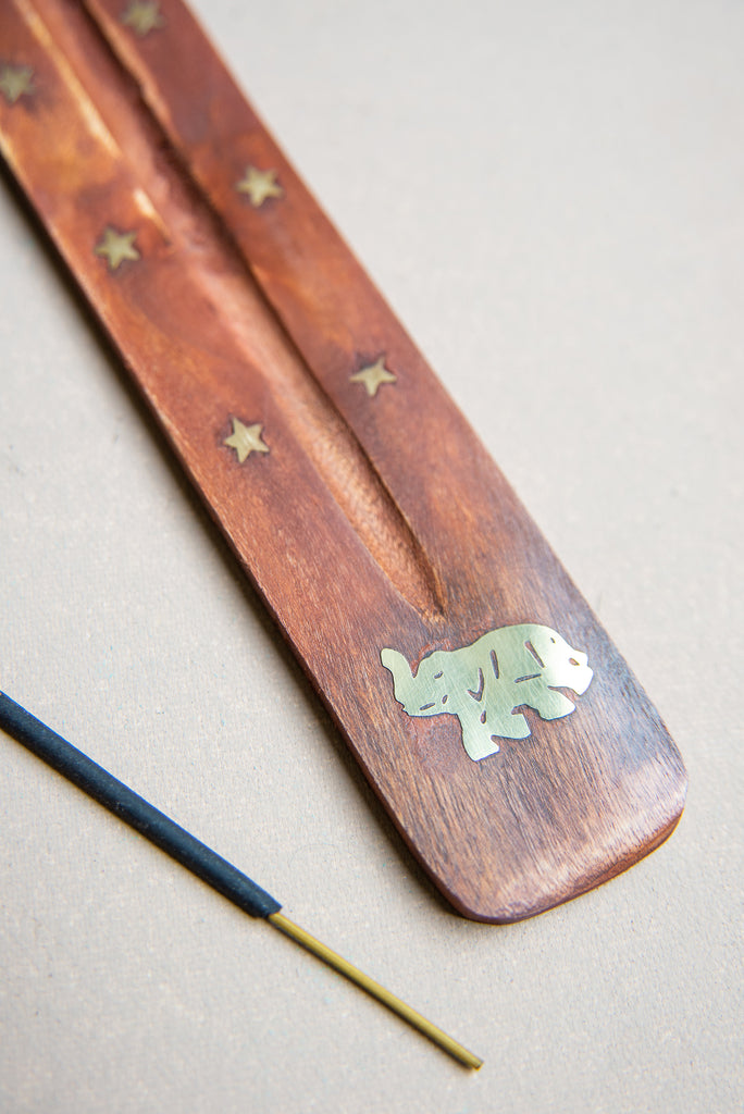 Elephant Wooden Ski Incense Holder with Brass Inlay