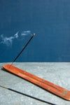 Moon Wooden Ski Incense Holder with Brass Inlay