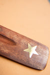Star Wooden Ski Incense Holder with Brass Inlay