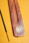 Sun Wooden Ski Incense Holder with Brass Inlay