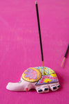 Pink Hand Painted Clay Elephant Incense Holder