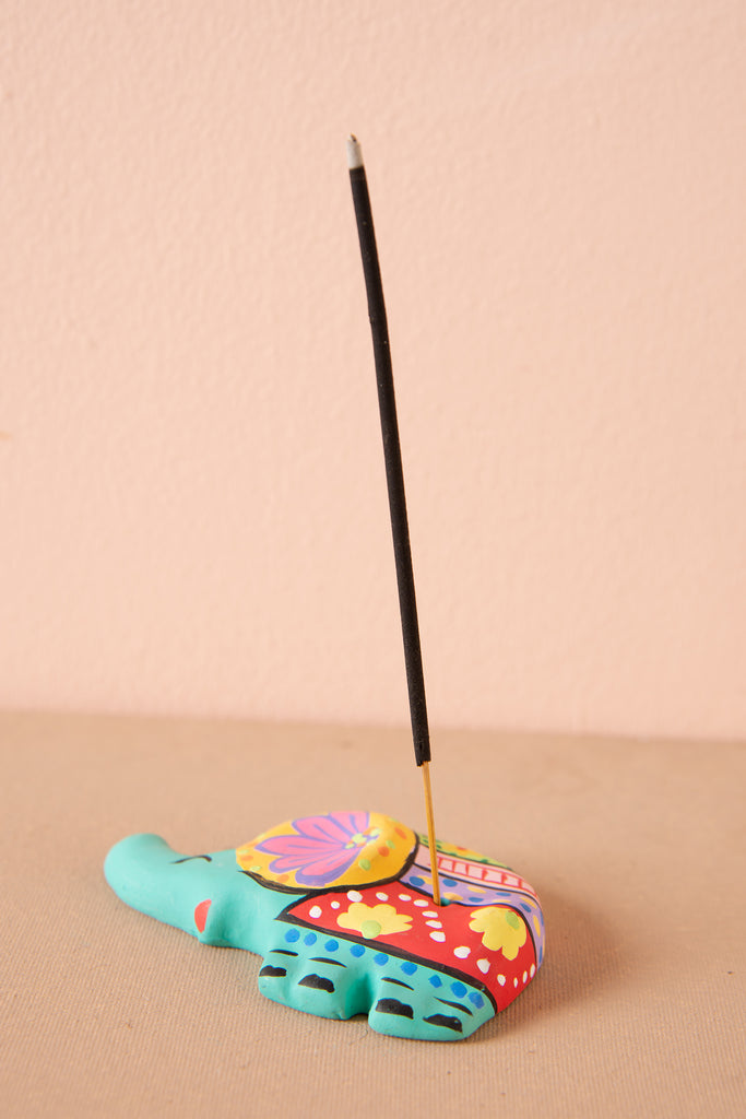 Turquoise Hand Painted Clay Elephant Incense Holder
