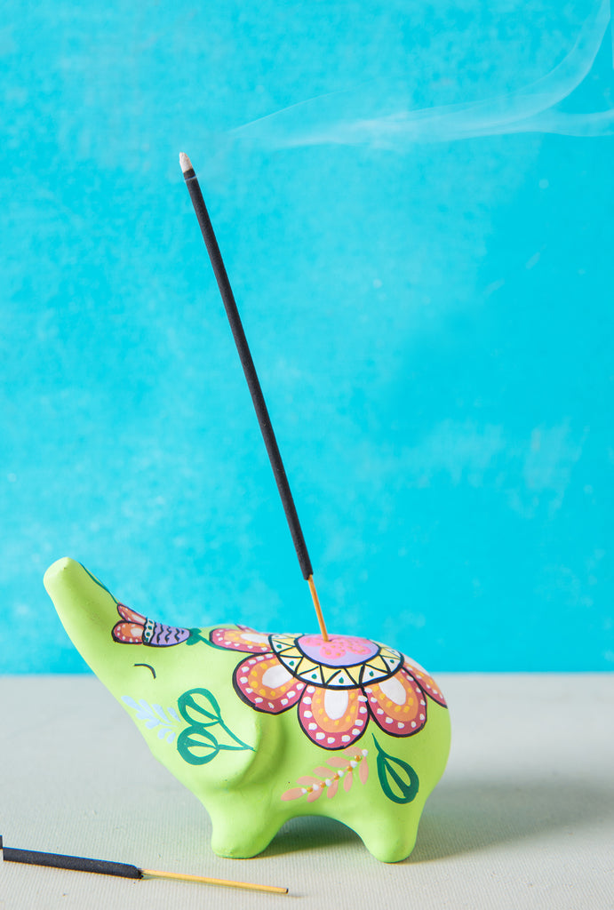 Lime Hand Painted Clay Standing Elephant Incense Holder
