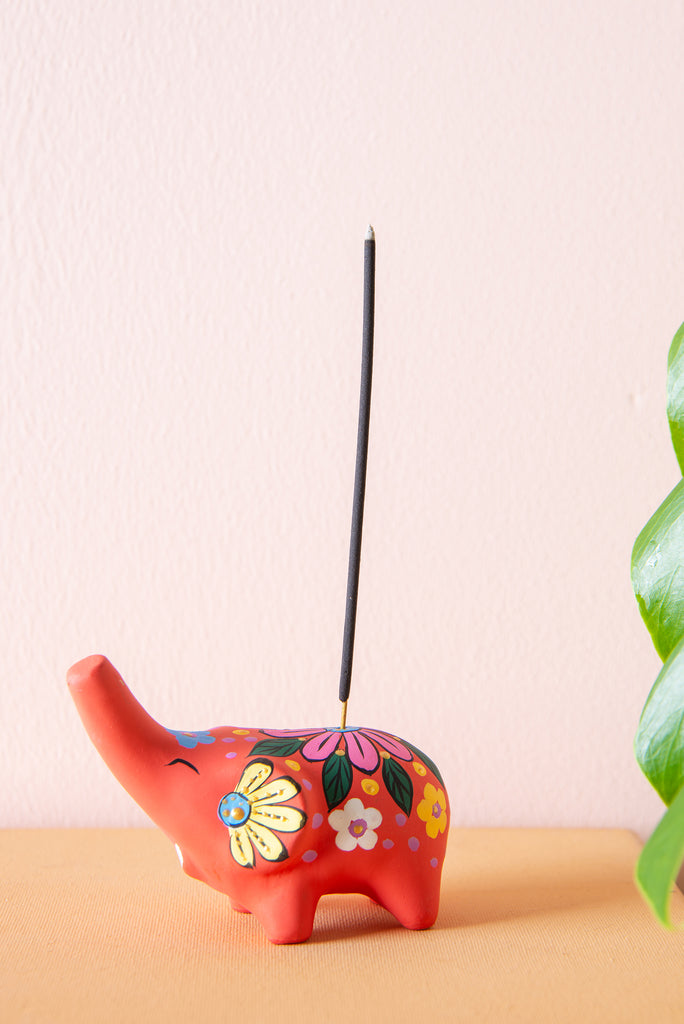 Orange Hand Painted Clay Standing Elephant Incense Holder