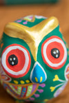 Green Hand Painted Clay Owl Incense Holder