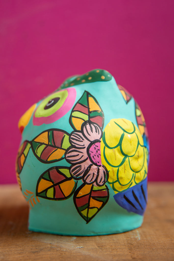 Turquoise Hand Painted Clay Owl Incense Holder