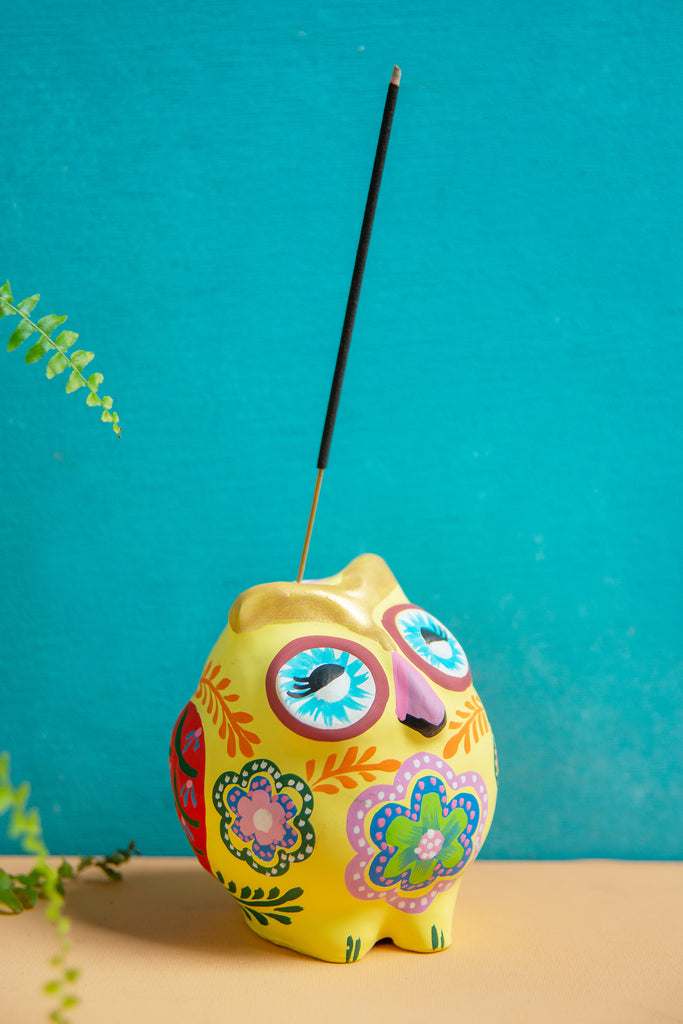 Yellow Hand Painted Clay Owl Incense Holder