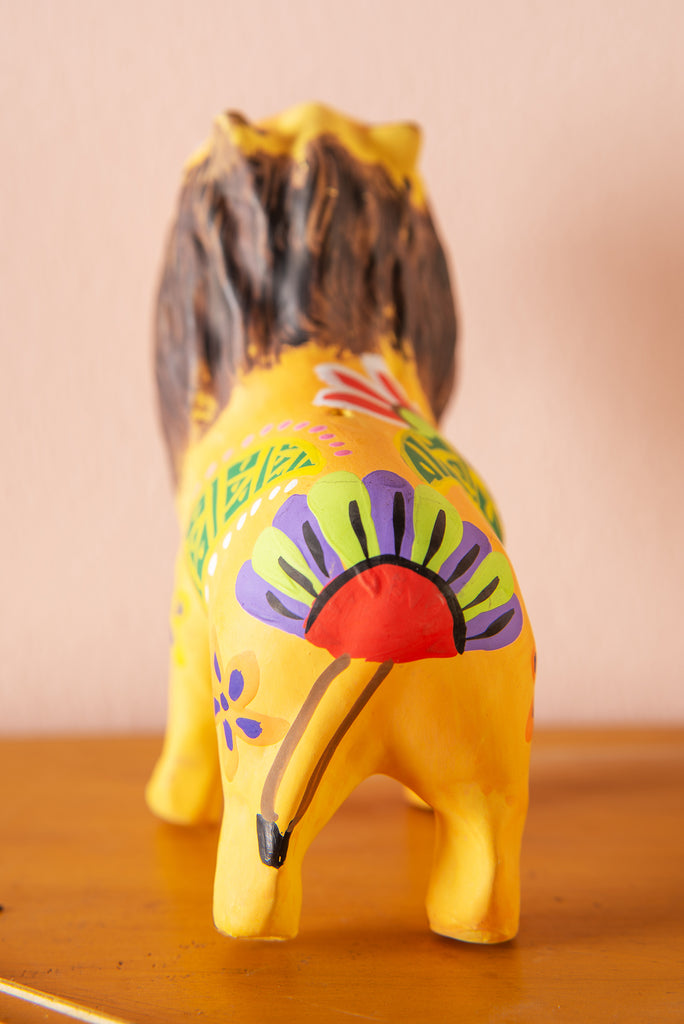 Hand Painted Clay Lion Incense Holder