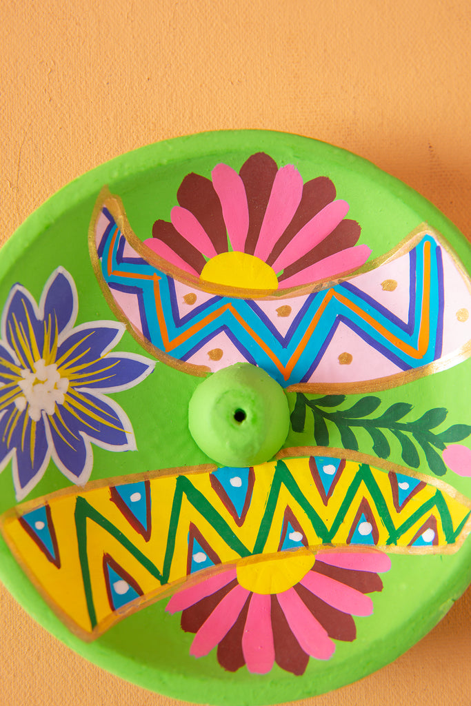 Lime Hand Painted Clay Plate Incense Holder