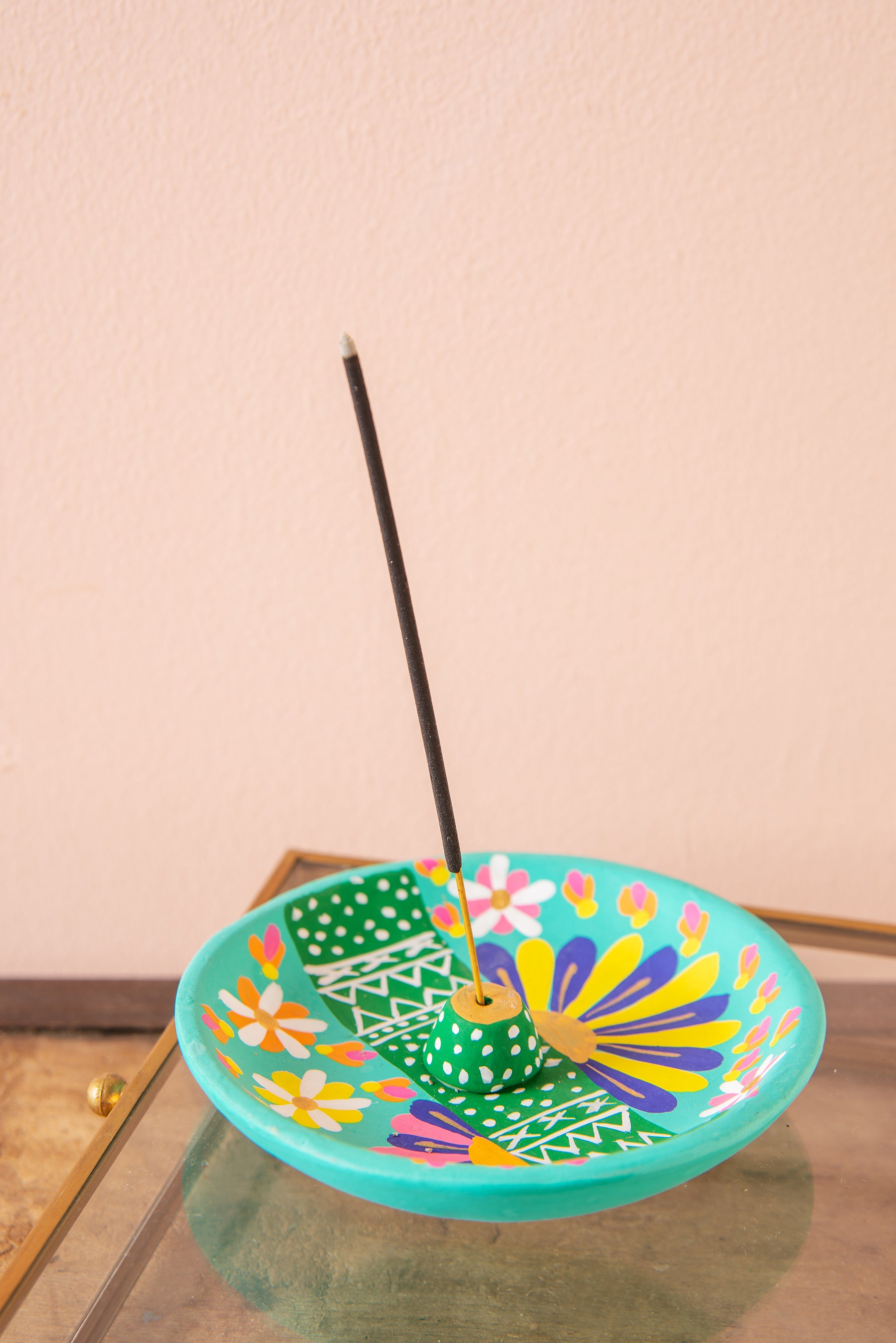 Turquoise Hand Painted Clay Plate Incense Holder