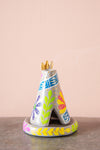 Blue Hand Painted Clay Teepee Incense Holder