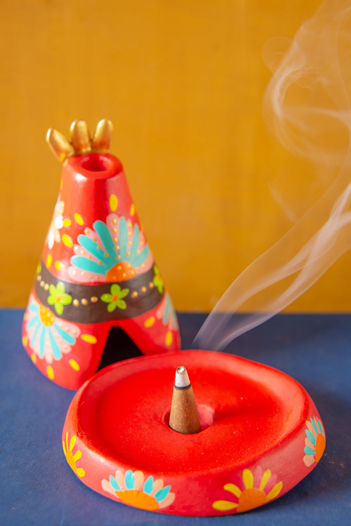 Red Hand Painted Clay Teepee Incense Holder