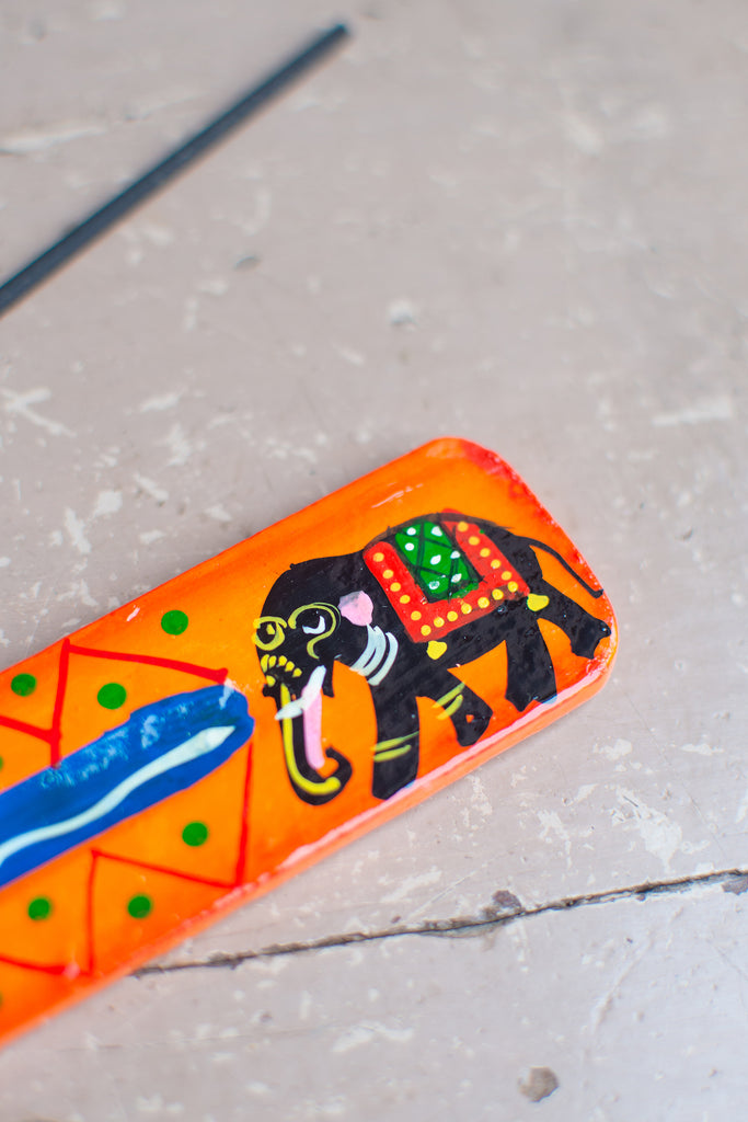 Elephant Hand Painted Wooden Incense Burner