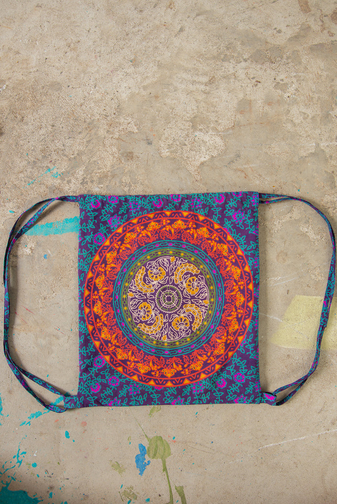 Mandala Cotton Drawstring Back Pack