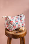 Confetti Blush Block Print Large Cosmetic Bag