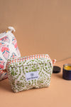 Coral Sunset Block Print Small Cosmetic Bag