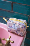 Lemon Sorbet Block Print Small Cosmetic Bag