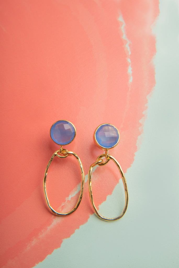 Karima Blue Chalcedony Gemstone Gold Oval Earrings