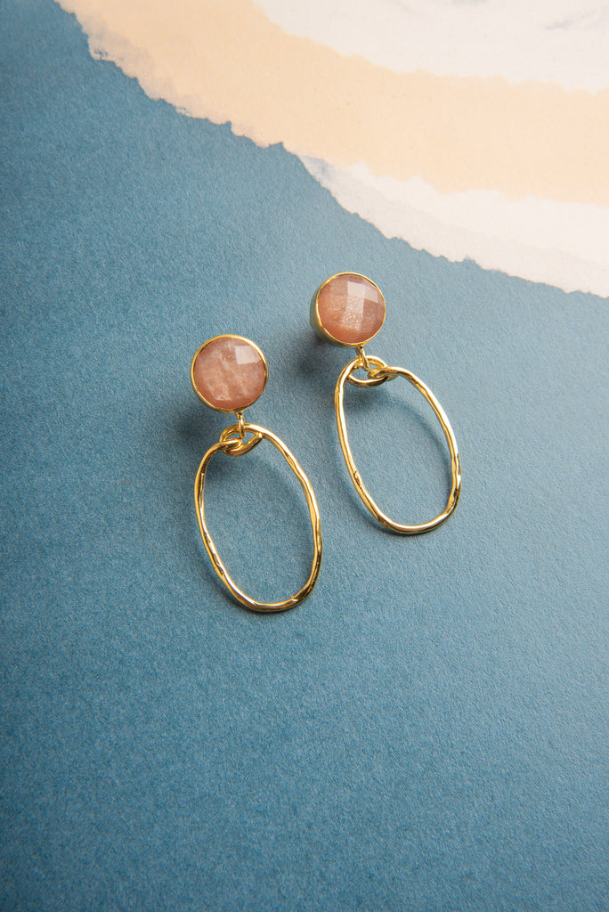 Karima Peach Moonstone Gemstone Gold Oval Earrings