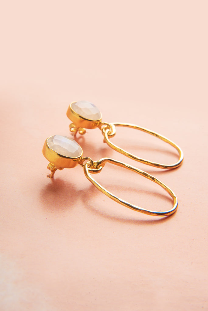 Karima Rainbow Moonstone Gemstone Gold Oval Earrings