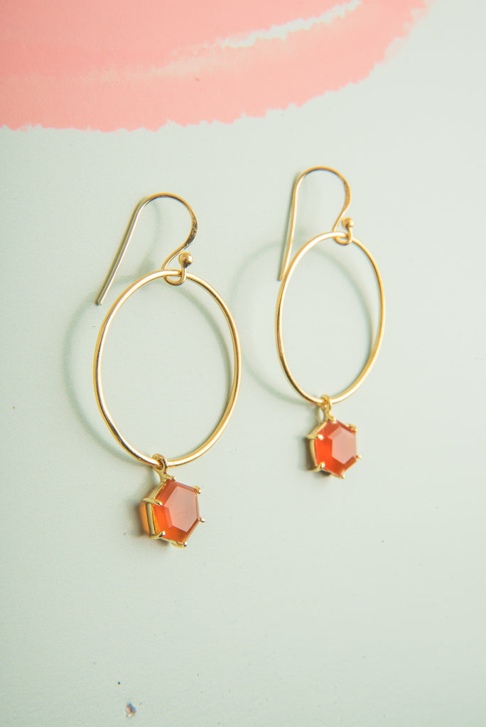 Aditi Carnelian Gemstone Circle Drop Earrings