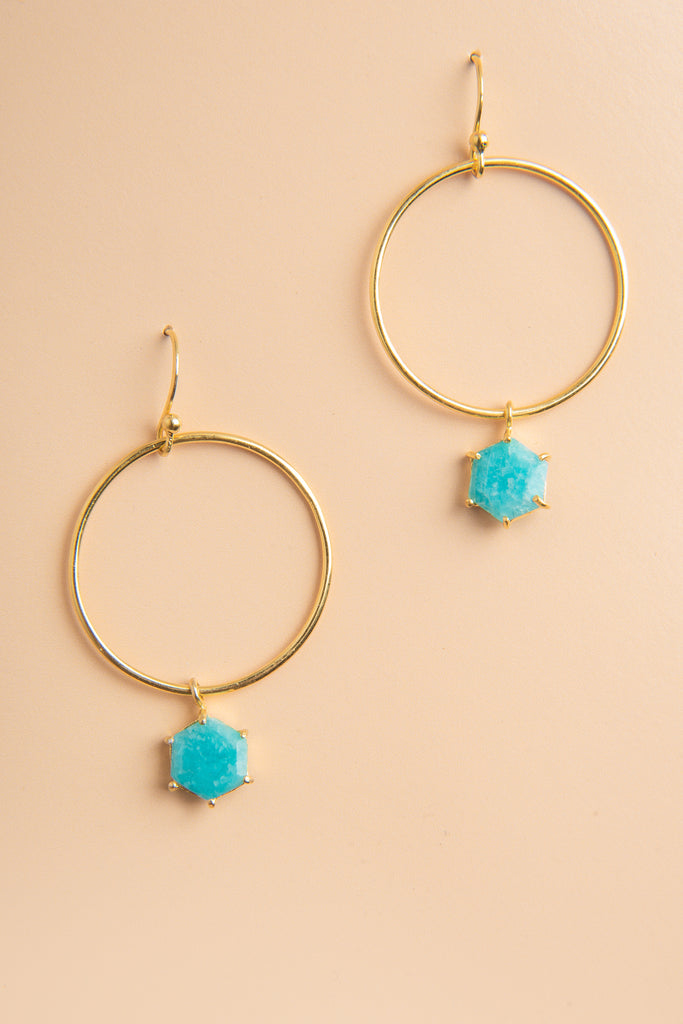 Aditi Amazonite Gemstone Circle Drop Earrings