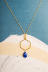 Yutika Lapis Gemstone Hexagon Gold Pendant Necklace