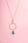Yutika Green Onyx Gemstone Hexagon Gold Pendant Necklace