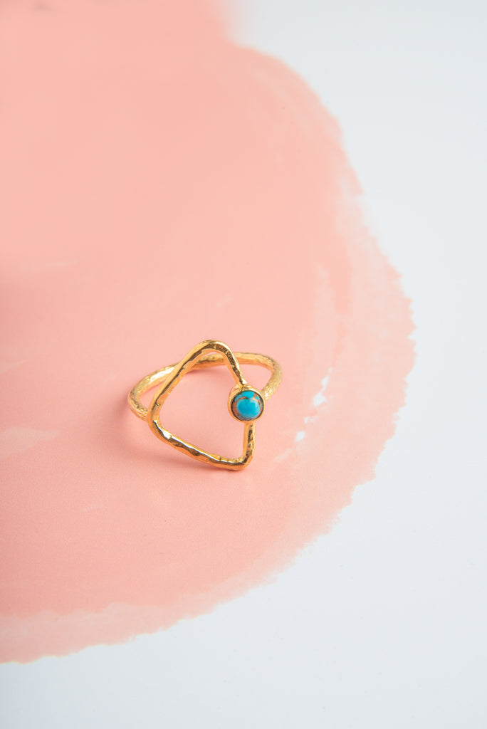 Disha Copper Turquoise Stone Gold Triangle Ring