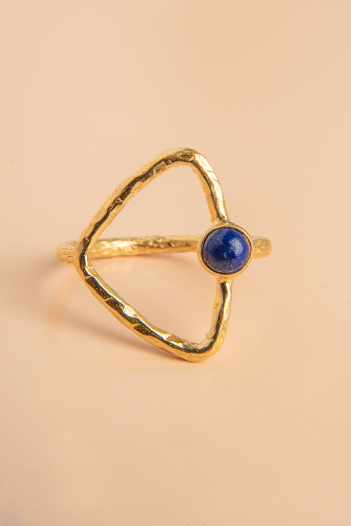 Disha Lapis Stone Gold Triangle Ring