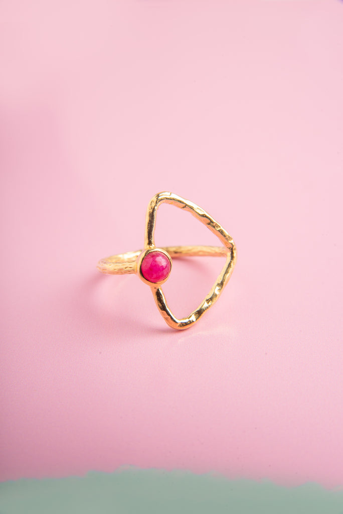 Disha Ruby Stone Gold Triangle Ring
