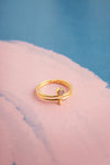 Jeevika Peach Moonstone Gold Droplet Ring