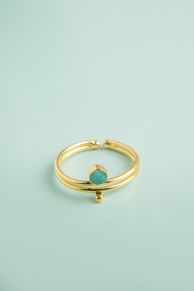 Jeevika Amazonite Gold Droplet Ring