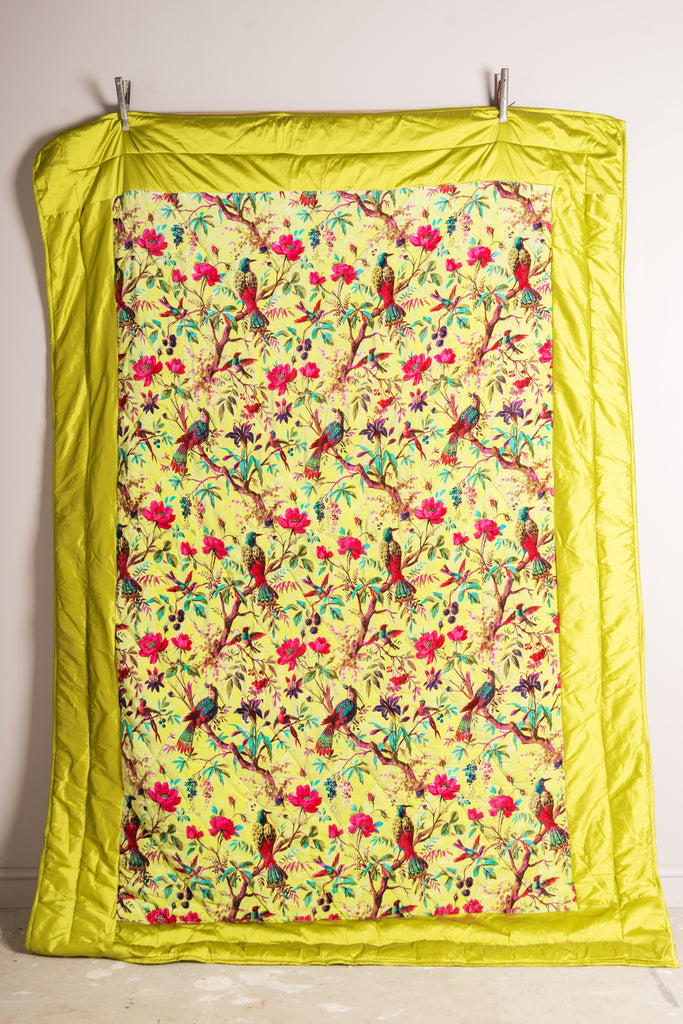 Lime Bird Of Paradise Quilt