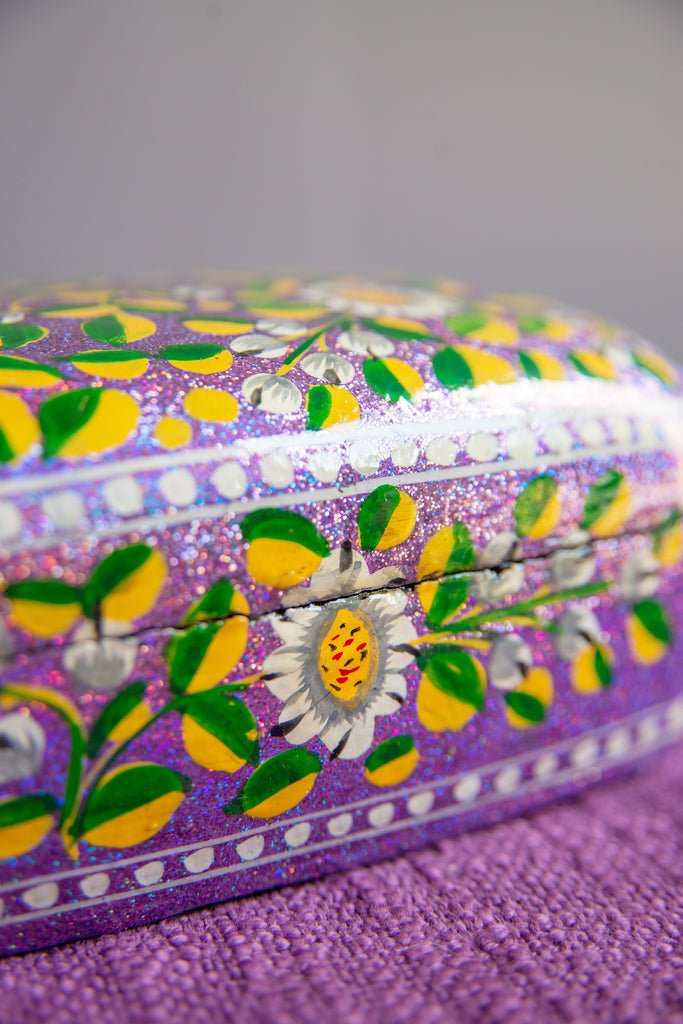 Purple Hand Painted Floral Glitter Papier Mache Box