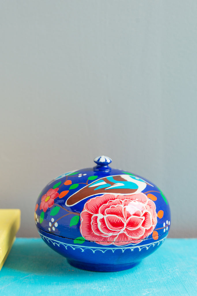 Hand Painted Blue Bird Wooden Powder Box