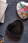 Metallic Silver Heart Shaped Hand Painted Papier Mache Box
