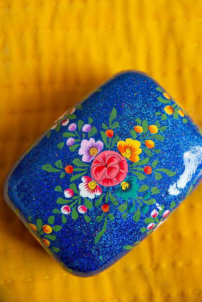 Blue Hand Painted Kashmiri Glitter Rectangular Papier Mache Box