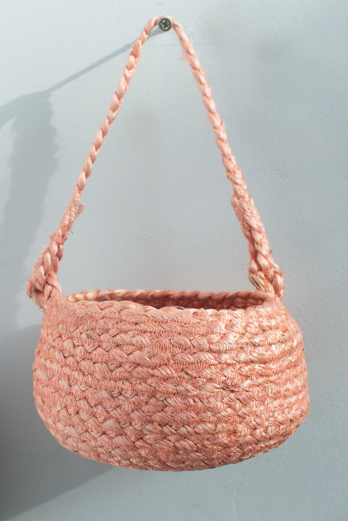 Burnt Orange Jute Hanging Basket